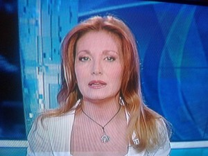 "Marina Nalesso in versione ""rossa"", foto dal TG1 Rai"