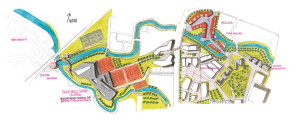 Il progetto più ampio che comprende oltre al mercato anche l'area sportiva verso la fermata SMFR Olimpia