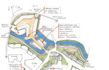 Il dettaglio del progetto di Battistella con l'isola del mercato al centro