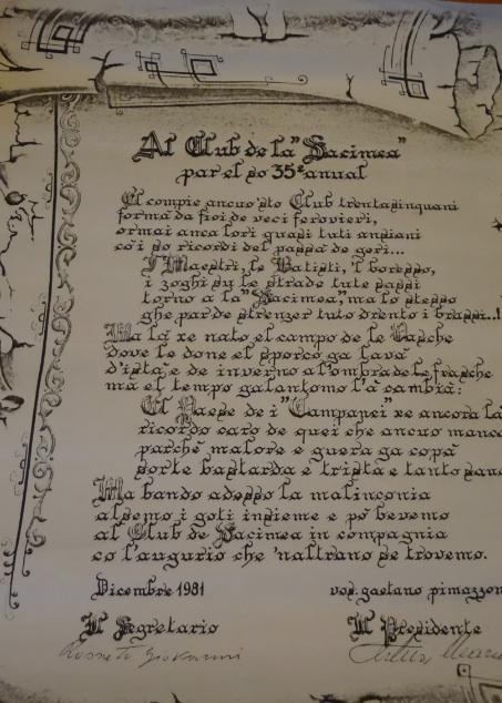 La pergamena del 35mo annuale incontro dei soci Sacimea (1981)