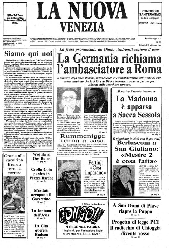 La finta prima pagina realizzata da Venezia7 (archivio Tatiana Ceccon)