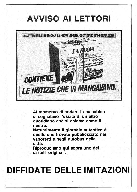 La finta ultima pagina realizzata dalla Nuova Venezia (archivio Tatiana Ceccon)