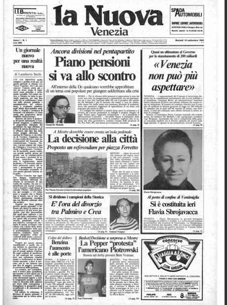 La edizione originale del primo numero della Nuova Venezia